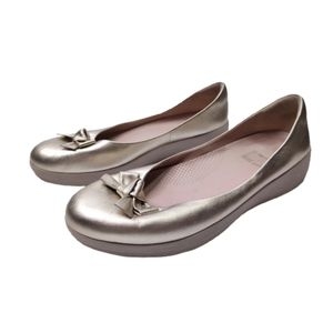 Fitflop Bow Leather Superballerina Flat Pale Gold